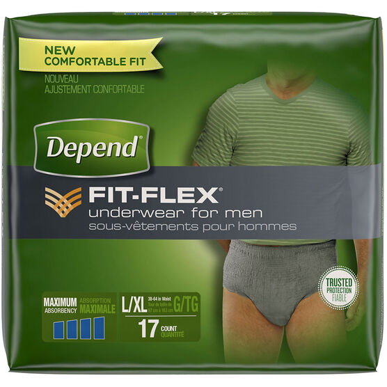 Depend Underwear for Men - Super Plus Absorbency - Large/Extra Large - 17's