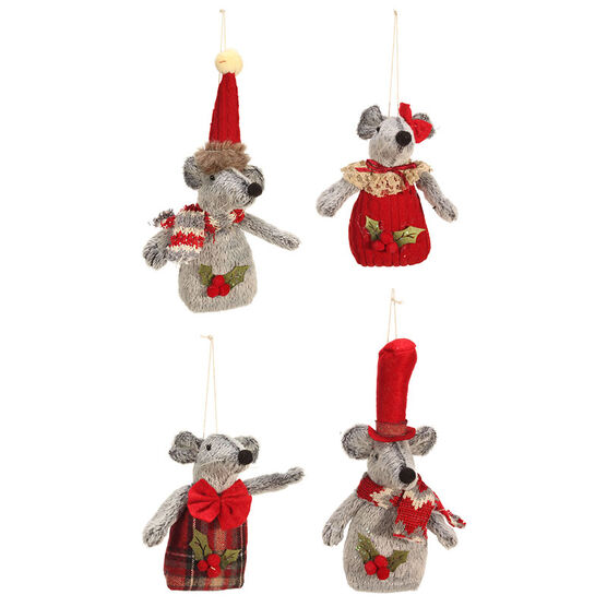 Winter Wishes Plush Mouse Ornament - 8 inch - Assorted