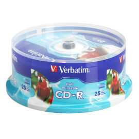 Verbatim CD-R up to 52X White Inkjet Printable Hub Printable Recordable Disc - 25 pack