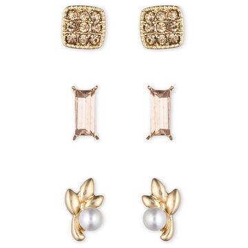 Lonna & Lilly Leaf Stud Earrings Trio - Gold Tone