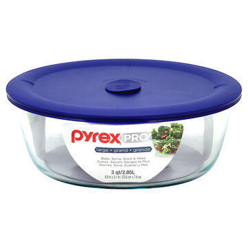 Pyrex Pro with Navy Lid - Round - 3Qt.