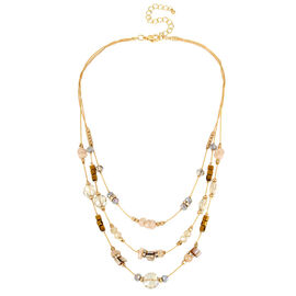 Haskell Layered Bead Necklace - Neutral/Gold