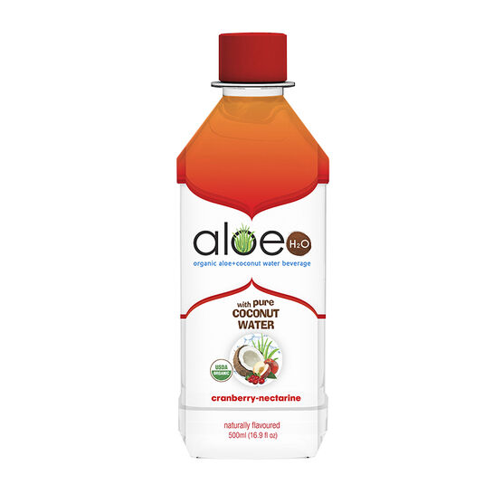 Aloe H20 Organic Aloe + Coconut Water Beverage - Cranberry-Nectarine 500ml