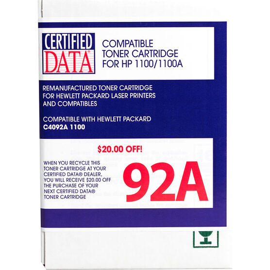 Certified Data 92A Remanufactured Toner Cartridge