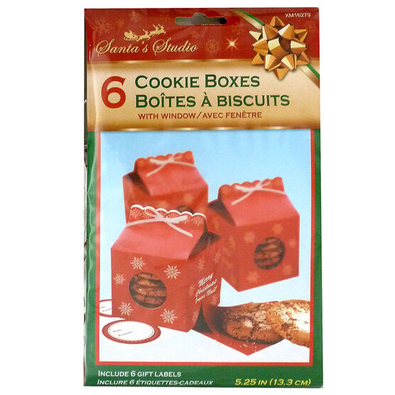 Christmas Milk Carton Cookie Box with Labels - 6 pack