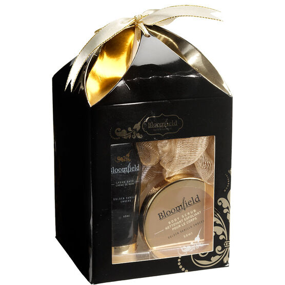 Bloomfield Box Bath Gift Set - Golden Vanilla Embers - 5 piece