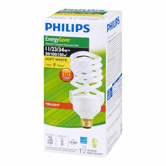 Philips 11/23/34W Trilight Soft White CFL Light Bulb