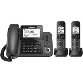Panasonic DECT 6.0 2-Handset with Corded Answering System - Black - KXTGF352M