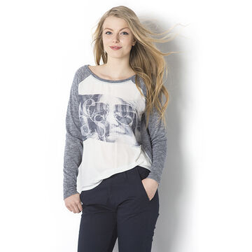 Lava Long Sleeve Printed Tee - Grey - L-HALIA