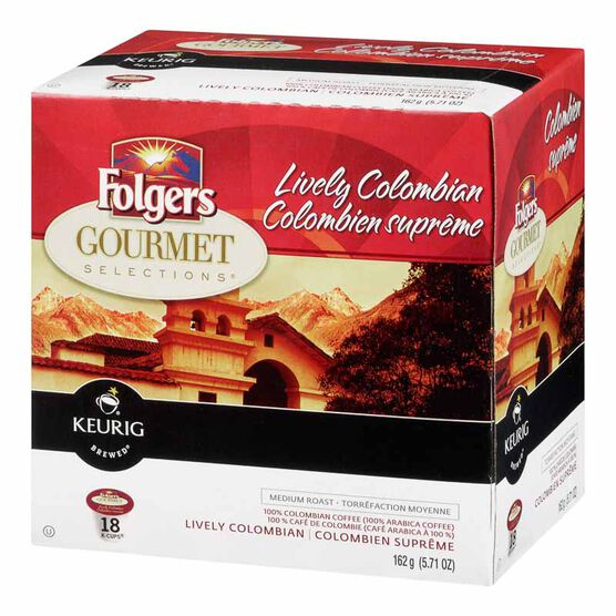 K-Cup Folgers Coffee Pods - Lively Columbian - 18's
