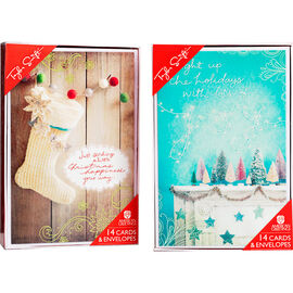 Deluxe Folk Christmas Cards - Assorted - 14 pack