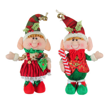 Winter Wishes Standing Jingle Bell Elf - 14 inch - Assorted
