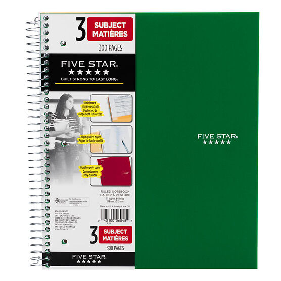 Mead Five Star Three Subject Notebook - 11 x 8.5 inch - 300 pages