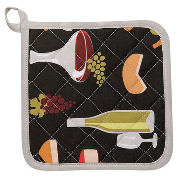 Kitchen Style Potholder - Wine and Cheese