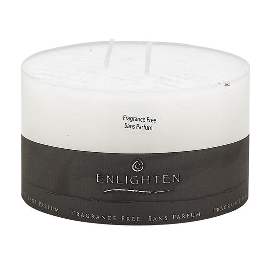 Enlighten Linen 3 Wick Unscented Candle -  White - 5 x 3inch