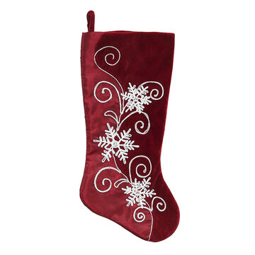 Satin Velvet Snowflake Stocking - 19 in - Red