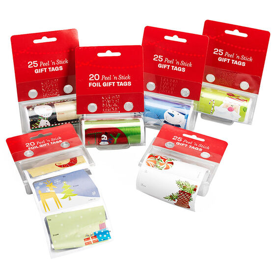 Christmas Peel 'n Stick Roll Gift Tags - 20/25's - Assorted