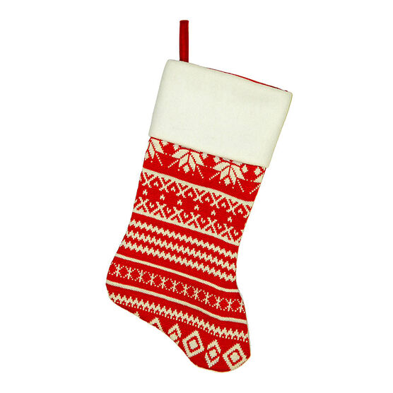 Christmas Forever Knitted Snowflake Stocking - 20.5in - Red - XM-US2550