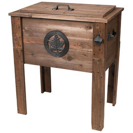 Rustic Maple Leaf Wooden Cooler - 50L