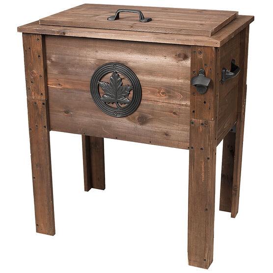 Rustic Maple Leaf Wooden Cooler - 50L