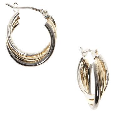 Nine West Small Twisted Hoop Earrings - Tri-Tone