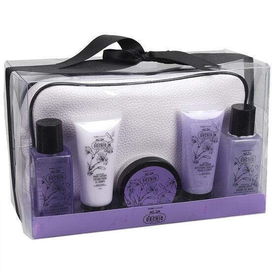 PurePleasure Bath Set with Cosmetic - Midnight Orchid - 5 piece