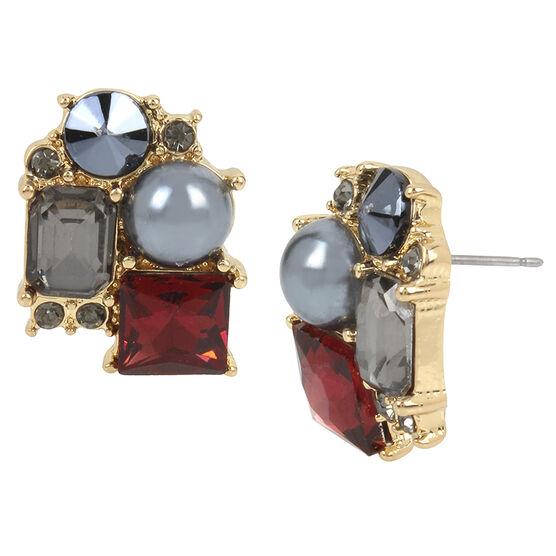 Kenneth Cole Stud Earrings - Burgundy/Gold