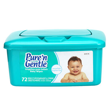 Pure 'N Gentle Baby Wipes - Unscented - 72's