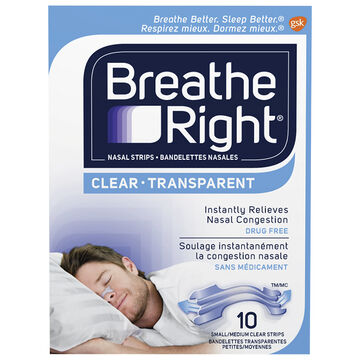 Breathe Right Nasal Strips - Clear - Small/Medium - 10's