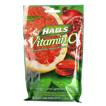 Halls Vitamin C No Sugar Added - Pomegranate Citrus - 25's