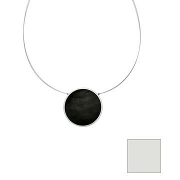 Merx Reversible Circle Resin Shell Wire Necklace - Charcoal/Black