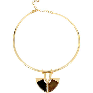 Haskell Stone Pendant Collar Necklace - Brown/Gold