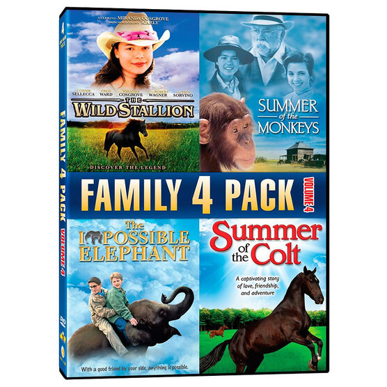 Family 4 Pack: The Wild Stallion/Summer of the Monkeys/The Impossible Elephant/Summer of the Colt - DVD
