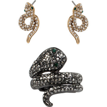 Betsey Johnson Snake Ring and Earrings Set - Crystal/Mixed