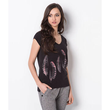 Lava Feather Printed  Tee - Black - T-EASLY