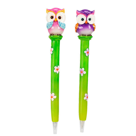 Hand Painted Cartoon Owl Pen - Assorted