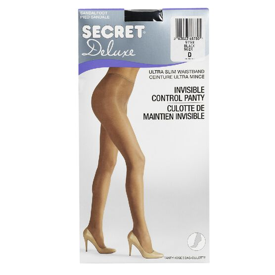 Secret Deluxe Reveal In-Control Pantyhose - D - Black