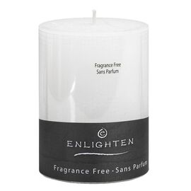 Enlighten Linen Unscented Pillar Candle - White - 3 x 4inch