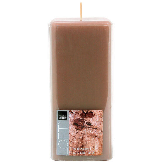 Kiera Grace Loft Pillar Candle - Teakwood - 6inch