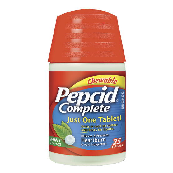 Pepcid Complete Acid Reducer and Antacid with Dual Action - Mint Flavour - 25 Tablets
