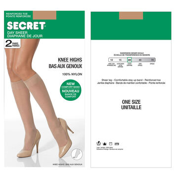Secret Knee Highs with Reinforced Toe - Neutral - One Size - 2 pair