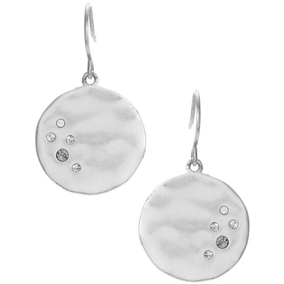 Kenneth Cole Hammered Disc Drop Earrings - Silver Tone