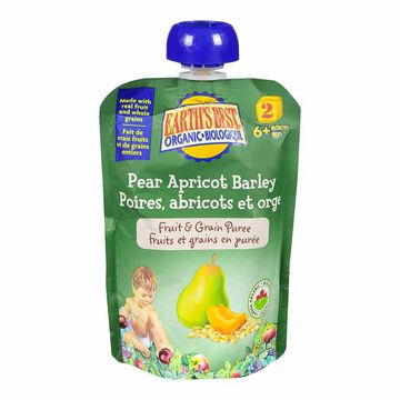 Earth's Best Infant Puree Pouch - Pear, Apricot and Barley - 128 ml