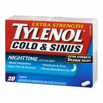 Tylenol* Cold and Sinus Nighttime - Extra Strength - 20 caplets
