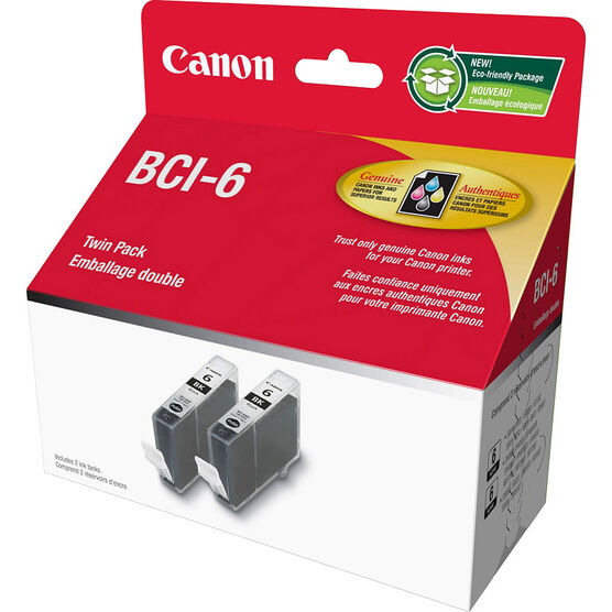 Canon BCI-6 Twin Pack Ink Cartridge - Black - 2 Pack - 4705A020