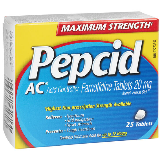 pepsid ac Emphasizes the medication famotidine (pepcid), a drug used in promoting the healing of stomach and duodenal ulcers, reducing ulcer pain, and the treatment of heartburn and gerd.