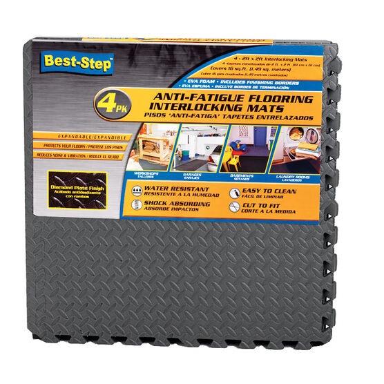 Best-Step Anti-Fatigue Flooring Interlocking Mats - 4 pack - 2 x 2 ft.