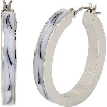 Haskell Stone Hoop Earrings - Abalone