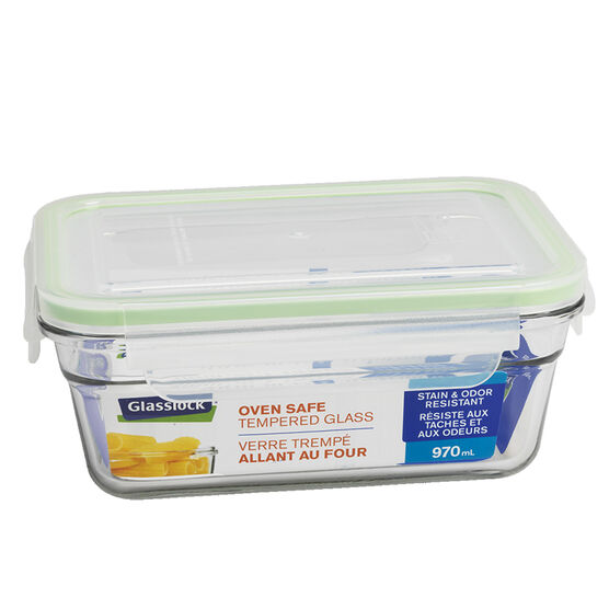 Glasslock Rectangle Oven Safe Tempered Glass Container - Assorted - 970ml