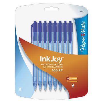 Paper Mate Ink Joy 100 Retractable Pen - Blue - 8 Pack